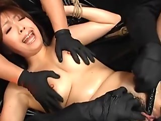 FemDom Gives Gyno Exam In Rubber Gloves To Hairy Pussy Japanese submissive