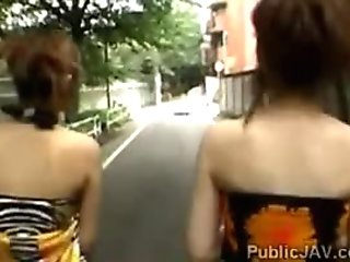 Asian Pervs swap their Japanese girlfriends in public