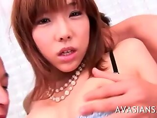 Wild fingering for her hairy asian pussy