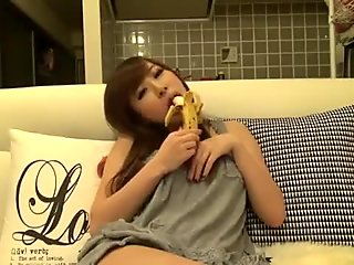 Cute Japanese Girl Eats Banana on Cam - BasedCams.com