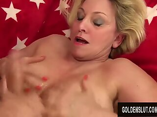 chesty granny Cala covets Gives an Oily Titjob and Gets Pummeled
