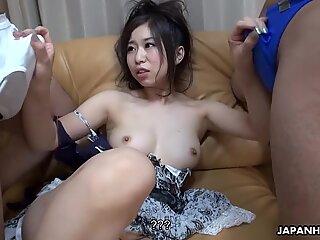 Naughty Japanese slut enjoys threesome