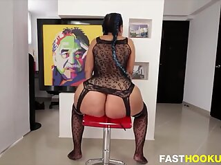 PAWG with a fat pussy rides dildo
