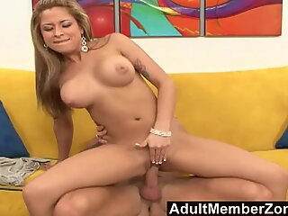 AdultMemberZone Busty Brunette Bends Over