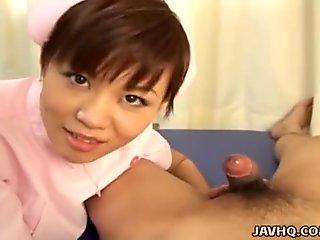 Japanese nurse giving a hot blowjob