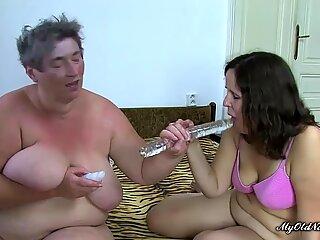 Bbw Lesbian Granny Shares a Dildo