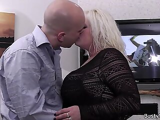 Blonde plumper rides client'_s cock at work