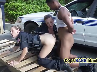 Black guy pounding two hot cops