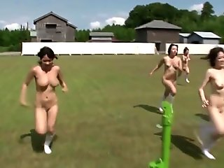 Naked olympic games outdoor with a group