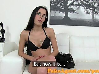 FakeAgent Petite chick jizzed over in casting interview