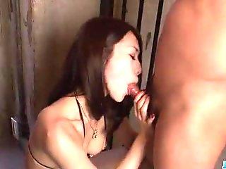 An Yabuki moans and blows on a big Asian cock