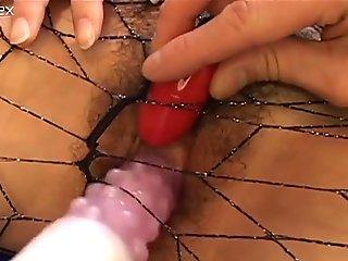 Ryo Odagiri in fishnet pantyhose  gets her pussy stuffed