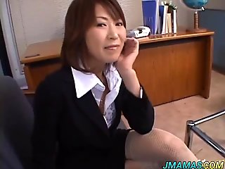 Asian secretary gives head for cum in her mouth
