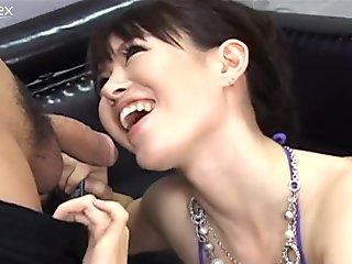 Sinful Japanese hottie with small tits Ai Himeno sucks tasty dicks