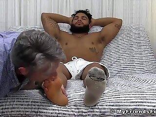 Latino hunk Pablo cocktease during foot licking worship