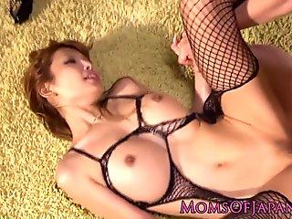 Fishnet lingerie Japanese milf fucked