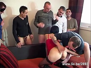 Sophie gangbanged in stockings by 6 men