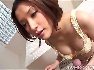 Sweet Emi Orihara in the bathroom on her knees sucking cock and playing with cum in her mouth