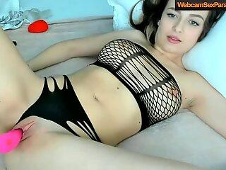 girl in sexy underwear is masturbating on cam