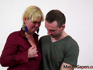 Shy granny's aroused pussy gaped by young boy
