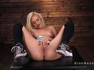 Skinny blonde gets anal machine banging
