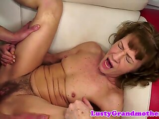 Saggy granny gets dildoed and assfucked