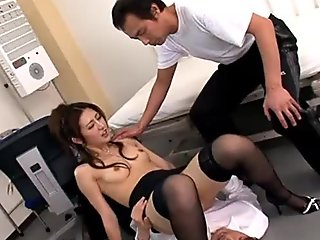 Asian teacher ends up in a creamy threesome fuck
