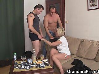 Horny blonde granny double penetration