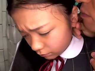 Shy Japanese teen gives a great blowjob