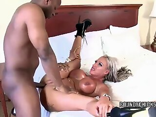 Busty blonde Brooke Jameson gets nailed with a black cock