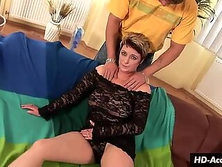 Black lace and white hot sex