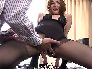 Wondrous slutty Japanese office nympho Yuna Hirose gives head in the office