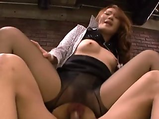 Slutty Asian babe in torn pantyhose riding a raunchy dude
