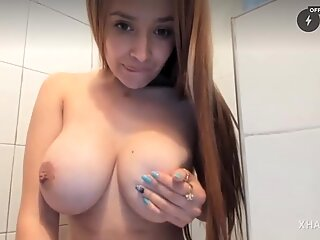 Indian girl squirting in bathroom in public