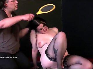 Pegged bbw slave Emmas humiliating punishment and curvy painslut whipping
