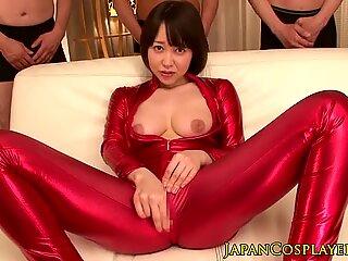 Japanese spandex MILF gangbanged