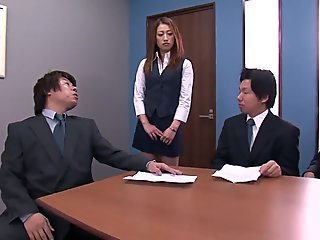 Businessmen can't resist hot secretary and they gang bang her