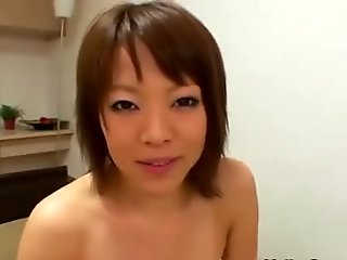 Creampie asian loves sucking cock