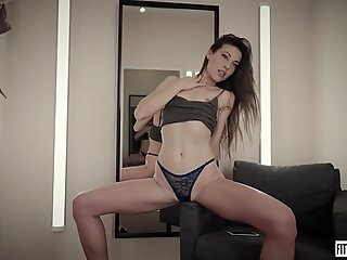 Spanish Lorena humps her arse with a dildo in a undergarments shop